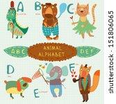 Cute Animal Alphabet.  A  B  C...