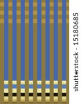 Vertical blue lines on a taupe background with intersecting horizontal lines at top and bottom - stock photo