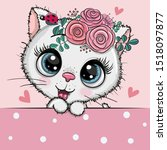 Cute Cartoon White Kitten With...