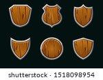 vector wooden shields in...