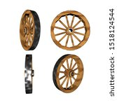 3d Illustration Wooden Wheel....