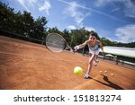 girl playing tennis on the... | Shutterstock . vector #151813274