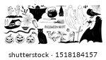 monochrome halloween set of... | Shutterstock .eps vector #1518184157