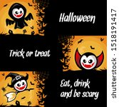 halloween cartoon banner... | Shutterstock .eps vector #1518191417
