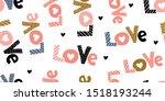 cute romantic seamless pattern. ... | Shutterstock .eps vector #1518193244