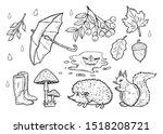 Stock photo hand drawn illustration of the autumn weather set rain drops open umbrella rubber boots falling 1518208721