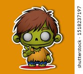 Halloween Zombie. Cartoon Chib...