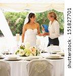 bride with wedding planner in... | Shutterstock . vector #151827701