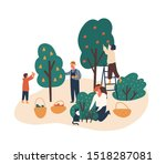 family working in fruit garden... | Shutterstock .eps vector #1518287081