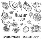 illustration of healthy food... | Shutterstock . vector #1518318044