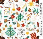 christmas holiday flat vector... | Shutterstock .eps vector #1518332264