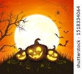 halloween pumpkins with moon on ...   Shutterstock . vector #1518334064