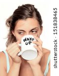 very tired looking woman early... | Shutterstock . vector #151838465