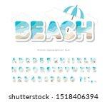 modern seaside landscape font.... | Shutterstock .eps vector #1518406394