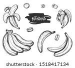 illustration of banana set.... | Shutterstock . vector #1518417134