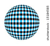 Blue, black and white checkered sphere - stock photo