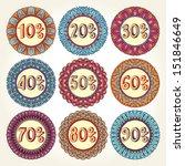 Set Of Nine Colorful Vintage...
