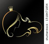 girl with a golden crown on her ...   Shutterstock .eps vector #1518471854