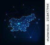 slovenia map outline with stars ... | Shutterstock .eps vector #1518477944
