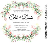 invitation or wedding card with ... | Shutterstock .eps vector #151851311