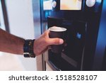 Man Hand With Coffee  Vending...