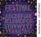 bright colorful font  line art... | Shutterstock .eps vector #1518529661