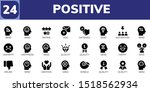 positive icon set. 24 filled... | Shutterstock .eps vector #1518562934