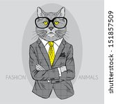 illustration of cat in business ... | Shutterstock .eps vector #151857509
