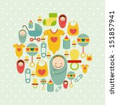 baby shower icons over dotted... | Shutterstock .eps vector #151857941