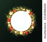 round christmas wreath with fir ... | Shutterstock .eps vector #1518586034