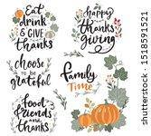 set of hand drawn lettering... | Shutterstock .eps vector #1518591521