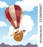 cartoon kids inside wooden boat ... | Shutterstock .eps vector #1518608687
