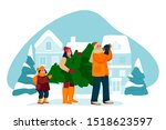 happy young family buys... | Shutterstock .eps vector #1518623597