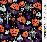 halloween seamless pattern with ... | Shutterstock .eps vector #1518712607