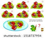 Stock vector logical puzzle game for children and adults which group of ladybirds you can see in the mirror 1518737954