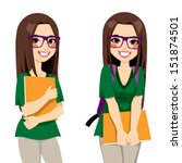 cute teenage girl student with... | Shutterstock .eps vector #151874501