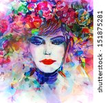 woman face. hand painted... | Shutterstock . vector #151875281