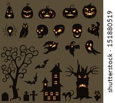 set of halloween silhouette on... | Shutterstock .eps vector #151880519