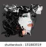 woman face. hand painted... | Shutterstock . vector #151883519