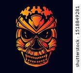 skull glow color artwork... | Shutterstock .eps vector #1518849281