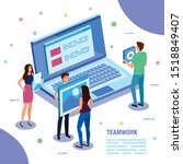 teamwork people with laptop...   Shutterstock .eps vector #1518849407