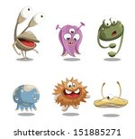 funny and cute cartoon monsters....   Shutterstock .eps vector #151885271