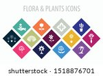 13 flora   plants multicolored... | Shutterstock .eps vector #1518876701