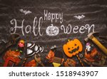 Stock photo happy halloween day with construction diy handy tools on black chalk board background concept flat 1518943907