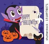 happy halloween. little cute...   Shutterstock .eps vector #1518978071