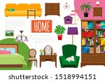 flat home interior elements... | Shutterstock .eps vector #1518994151