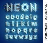 realistic blue neon character... | Shutterstock .eps vector #1519035737
