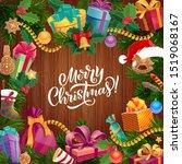 christmas wreath on wooden... | Shutterstock .eps vector #1519068167