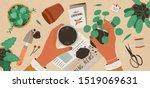 flowers replanting flat vector... | Shutterstock .eps vector #1519069631