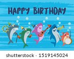 a shark family playing music on ... | Shutterstock .eps vector #1519145024